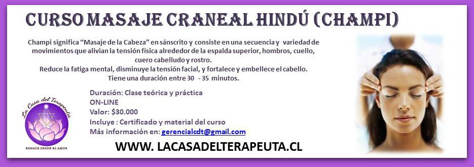 CURSO MASAJE CRANEAL HINDÚ (CHAMPI) ONLINE